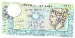 ITALIA BANCONOTA DA LIRE 500 FDS MERCURIO DECRETO 20/12/76  SERIE D21  459887 - 500 Lire