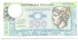 ITALIA BANCONOTA DA LIRE 500 FDS MERCURIO DECRETO 20/12/76  SERIE D21  485642 - 500 Lire