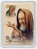Santino Plastificato SAN PIO DA PIETRELCINA Con RELIQUIA (tessuto) - PERFETTO H46 - Godsdienst & Esoterisme