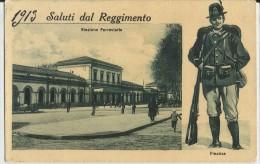 MILITARIA -1913 SALUTI DAL REGIMENTO -STAZIONE FERROVIARIA -FINANZIERI -FP - Uniformi