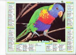Almanach Des PTT 1991, Perroquet / Couple De Finches, Oiseaux, OLLER - Calendriers