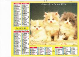 """Almanach Des PTT 1996, Chatons """"écaille De Tortue"""" / Chiots West Highland White Terrier, OBERTHUR - Calendriers"""