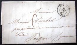 Cachet Type 15  --  AUXERRE  --  YONNE  --  LAC  --  1848 - Marcophilie (Lettres)
