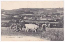 Neuville - Vue Générale, Au Premier Plan, Attelage D'un Tombereau à Deux Boeufs - Circulé 1907, Convoyeur Ligne Lyon à D - Neuville Sur Saone