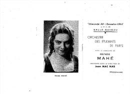 Dimanche 30 09 1947 SALLE GAVEAU  ORCHESTRE DES ETUDIANTS DE PARIS Avec RENEE MAHE - Programs