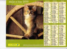 Almanach Des PTT 2001, Chat Sur Une Roue De Charrette / Chaton Caché, J. CARTIER BRESSON - Calendriers
