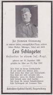 Sterbebild Leo Schlageter Totenzettel 1906 - 1942 Gefreiter In Einem Infanterie Regiment Gefallen Im Osten - Weltkrieg 1939-45