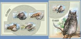 nig14419ab Niger 2014 Bird Owls 2 s/s