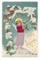 10834 -  Fröhliche Weihnachten Engel Ange Habits De Soie Silk  Carte En Relief - Natale