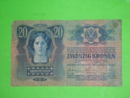 Austria-Hungary Monarchy,zwanzig Kronen,20 Korona,banknote,paper Money,bill,geld,vintage - Oesterreich