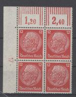 Deutsches Reich Michel No. 519 ** postfrisch Viererblock Eckrand mit Bogennummer