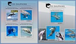 gu14408ab Guinea 2014 Dolphins 2 s/s