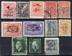 Lote 12 Sellos GRECIA, Sobrecargas Varias */º - Collections