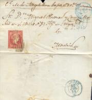 Año 1856 Edifil 48 4c  Sello Isabel II  Envuelta   Matasellos Rejilla Y Azul Oviedo Dirigida A Madrid - Lettres & Documents