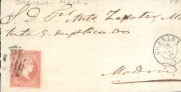 Año 1856 Edifil 48 4c  Sello Isabel II  Envuelta   Matasellos Rejilla Y Granada Dirigida A Madrid - Covers & Documents