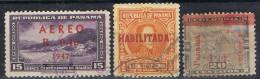 Lote 3 Sellos PANAMA, Sobrecargas Varias  º - Panamá