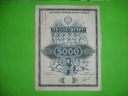 JUGOSLAVIJA,SFRJ,NARODNI ZAJAM ZA OBNOVU I IZGRADNJU SKOPLJA - MACEDONIA,1963.,5000 DIN,OBLIGATION,help,solidarity - Industrie
