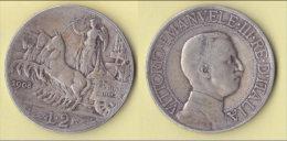 Regno D´Italia  2 Lire 1908  Quadriga Lenta - 1861-1946 : Royaume