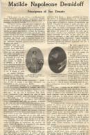 Firenze, 1926, Matilde Napoleone Demidoff Principessa Di San Donato, Articolo Illustrato Di Rodolfo Gazzaniga. - Documenti Storici