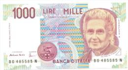 ITALIA BANCONOTA DA LIRE 1000  MONTESSORI  SERIE BG 485585 N   FDS - [ 2] 1946-… : République