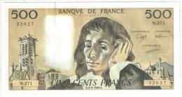 500 F Pascal - 3-3-1988 - W 271 32627 - 1962-1997 ''Francs''