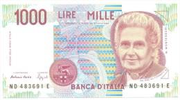 ITALIA BANCONOTA DA LIRE 1000  MONTESSORI  SERIE ND 483691 E   FDS - 1000 Lire