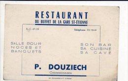 """Carte De Visite Publicitaire """"P. Douziech,Bar,Restaurant Du Buffet De La Gare """" à Saint Etienne - Cartes De Visite"""