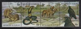 Burundi Used Scott #520 Strip Of 4 11fr Hyrax, Cobras, Jackals, Verreaux's Eagles - Wildlife - Burundi