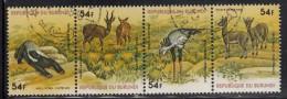 Burundi Used Scott #C262 Strip Of 4 54fr Honey Badger, Harnessed Antelopes, Secretary Bird, Klipspringer - Wildlife - Burundi