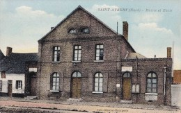 SAINT-AUBERT (Nord) - Mairie Et Ecole - Carte Colorée - Cambrai
