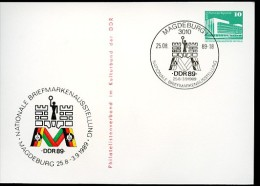 AUSSTELLUNG Magdeburg 1989 DDR PP18 D2/025a Privat-Postkarte Sost. NGK 4,00 € - Exposiciones Filatélicas