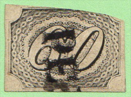 BRZ SC #9  1844 Numeral, Thick Paper, Faulty @ TR, CV $25.00+ - Brazil