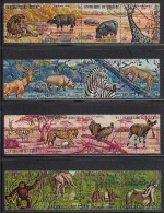 Burundi Used Scott #355-#360, #C146-#C151 Set Of 12 Strips Of 4 Each Wildlife - Burundi