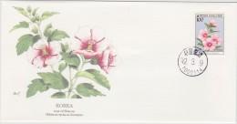 ROSE OF SHARON Hibiscus Syriacus  FLOWER KOREA 1992    - AUDUBON SOCIETY FDC - Rosas