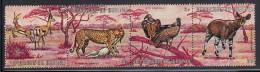Burundi Used Scott #357 Strip Of 4 3fr Grant's Gazelles, Cheetah, African White-backed Vultures, Johnston's Okapi - Burundi