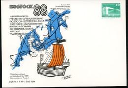 DDR PP18 D2/031 Privat-Postkarte LANDKARTE HANSE 15.Jh Rostock 1988 - [6] Oost-Duitsland