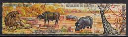 Burundi Used Scott #355 Strip Of 4 1fr Lion, Cape Buffalo, Hippopotomus, Giraffe - Burundi