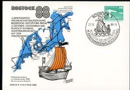 HANSE Sailboat Rostock 1987 East German Private Postal Card PP18 D2/031 - Geographie