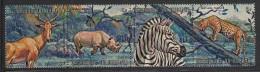 Burundi Used Scott #356 Strip Of 4 2fr Hartebeest, Black Rhinoceros, Zebra, Leopard - Burundi