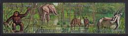 Burundi Used Scott #358 Strip Of 4 5fr Chimpanzee, Elephant, Spotted Hyenas, Beisa - Burundi