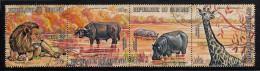 Burundi Used Scott #C146 Strip Of 4 10fr Lion, Cape Buffalo, Hippopotomus, Giraffe - Burundi