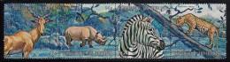 Burundi Used Scott #C147 Strip Of 4 14fr Hartebeest, Black Rhinoceros, Zebra, Leopard - Burundi