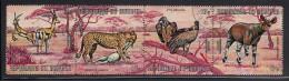 Burundi Used Scott #C148 Strip Of 4 17fr Grant´s Gazelles, Cheetah, African White-backed Vultures, Johnston´s Okapi - Burundi