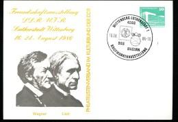WAGNER LISZT DDR PP18 D2/036 Privat-Postkarte Sost.1986 - Musica
