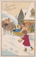Belle CPA  Illustrée  BONNE ANNEE  Du Village  ATTELAGE CHEVAUX Traineau Dans La NEIGE ENFANT Lanterne 1950 - Nouvel An