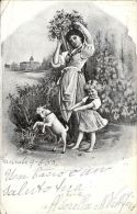 [DC5066] CARTOLINA - DONNA CON BIMBA E CAPRETTA - Viaggiata 1903- Old Postcard - Agricoltura