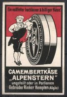 "Reklamemarke Camembertkäse Der Marke ""Alpenstern"" Der Gebrüder Rinker, Kempten, Adliger Begutachtet Camembert - Vignetten (Erinnophilie)"