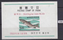 + KOREA SOUTH 1966; Mi: Block 230; MH; Fauna, Fish, Brachmystax Lenok, Pallas - Corea Del Sud
