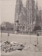 PHOTO DE PRESSE GANGLOFF,STRASBOURG,1935, CATHEDRALE,BAS RHIN,TRAVAUX,NOUVELLE TOURELLE DE CIRCULATION,LAMPE ELECTRIQUE - Lieux
