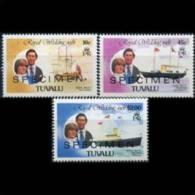 TUVALU 1981 - Scott# 157-61 R.Wed.Specimen Set Of 3 MNH (XU549) - Tuvalu
